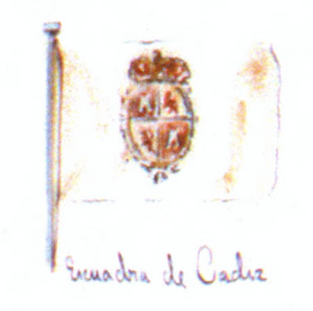 Bandera del departamento de Cádiz. Cortesía del Museo Naval. Madrid.