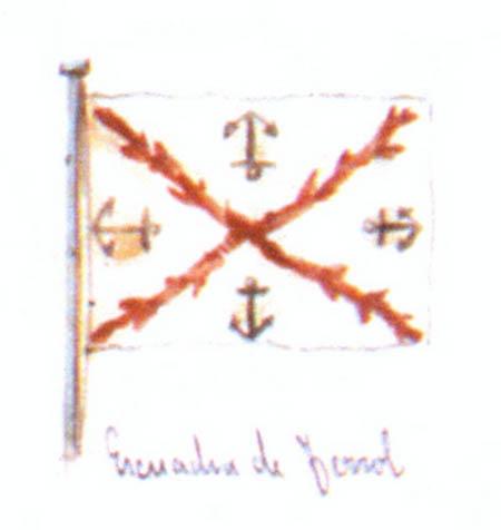 Bandera del Departamento de Ferrol. Cortesía del Museo Naval. Madrid