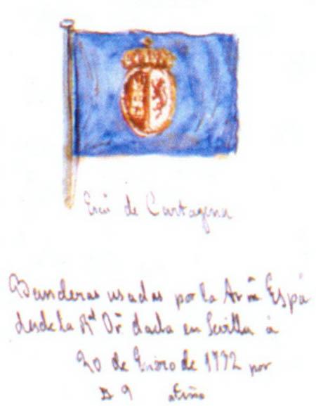 Bandera del Departamento de Cartagena.  Cortesía del Museo Naval. Madrid.