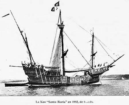 Nao Santa María en 1892.