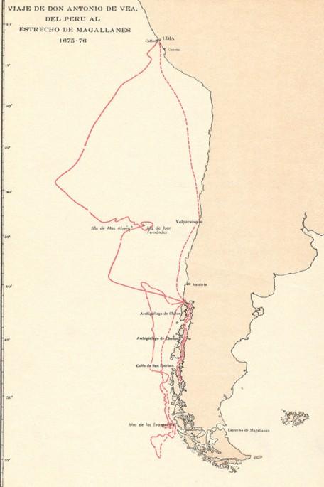 Mapa de la ruta seguida por Antonio de Vea y Pascual de Yriarte.