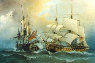 Ataque y captura del navío Stanhope, por Blas de Lezo al mando de una fragata. Cortesía del Museo Naval de Madrid.