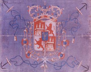 Pabellón concedido por don José Patiño a don Blas de Lezo, para su escuadra del Mediterráneo.Cortesía del Museo Naval de Madrid.