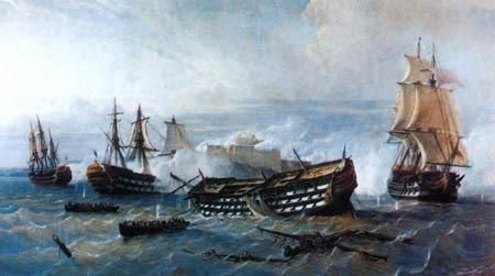 Defensa del Castillo del Morro de la Habana contra los británicos en 1762. Por Rafael Monleón. Cortesía del Museo Naval. Madrid.