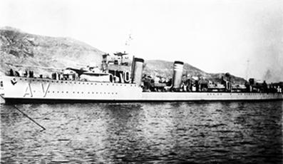Foto del destructor Almirante Valdés. Colección Todoavante. Casaú. Cartagena.