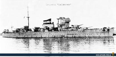 Foto del crucero Baleares. Cortesía del Museo Naval. Madrid. Colección don Alfredo Aguilera.