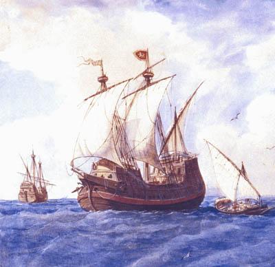 Carraca del siglo XIV. Por don Rafael Monleón. Cortesía del Museo Naval. Madrid.
