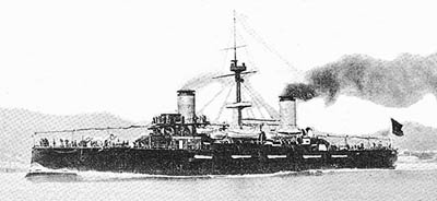Foto del crucero protegido Cristóbal Colón. Colección de don Alfredo Aguilera.
