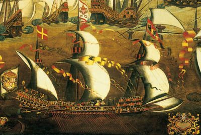 Galera con velas cuadras, forma en la que cruzaban el Atlántico.
