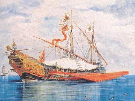 Galera Real de Lepanto, por Monleón. Cortesía Museo Naval. Madrid.