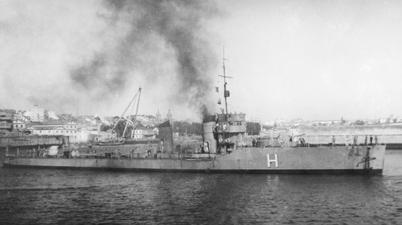 Foto del destructor Huesca. Colección Todoavante. Casaú. Cartagena.