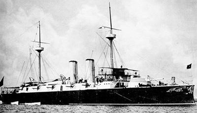 Foto del crucero protegido Infanta María Teresa. Colección de don José Lledó Calabuig.