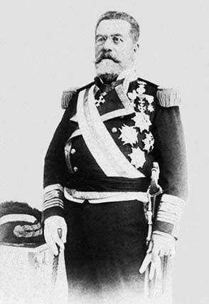 Grabado de don José María Ramos Izquierdo y Castañeda. Contralmirante de la Real Armada Española. Ministro de Marina.