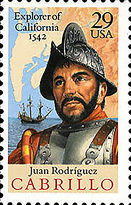Juan Rodríguez Cabrillo. Descubridor de la Alta California. Un sello emitido en los EE.UU.