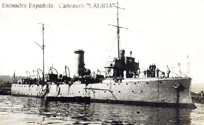Foto del cañonero Lauria. Postal de época Colección Todoavante.