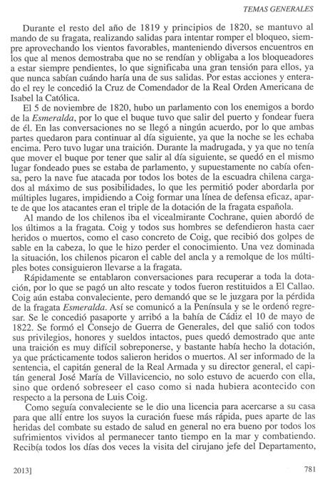 Biografía de don Luis de Coig y Sansón, publicada en la Revista General de Marina en su cuaderno de junio de 2013. Pág. 8