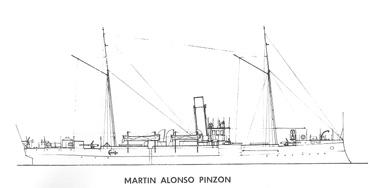 Cañonero Martín Alonso Pinzón. Dibujo de Elías.