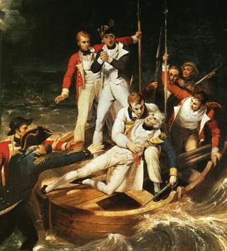 Nelson embarcando en una lancha ya herido para transbordarlo al navío Theseus. Visión muy romántica de la más que dolorosaa escena.