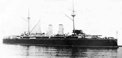 Foto del crucero protegido Almirante Oquendo. Colección de don José Lledó Calabuig.