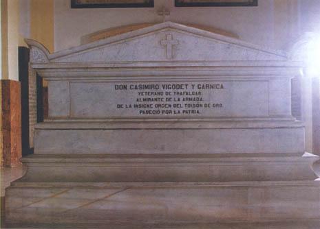 Mausoleo en el Panteón de Marinos Ilustres de don Casimiro Vigodet y Garnica. Cortesía del Museo Naval. Madrid.