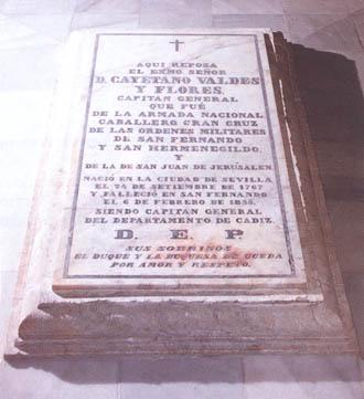 Mausoleo de don Cayetano Valdés y de Flores Bazán y Peón. Cortesía del Museo naval. Madrid.