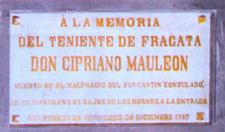 Lápida en el Panteón de Marinos Ilustres en recuerdo de don Cipriano Mauleón. Cortesía del Museo Naval. Madrid.