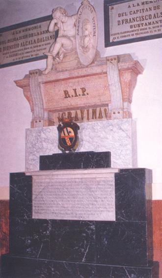 Lápida en el Panteón de Marinos Ilustres. Cortesía del Museo Naval. Madrid.