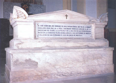 Mausoleo en el Panteón de Marinos Ilustres de don José Rodríguez de Arias y Álvarez de la Campana. Cortesía del Museo Naval. Madrid.