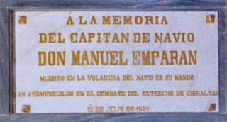 Lápida en el Panteón de Marinos Ilustres. Cortesía del Museo Naval.