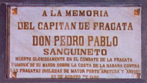 Lápida en el Panteón de Marinos Ilustres de don Pedro Pablo de Sanguineto. Cortesía del Museo Naval. Madrid.