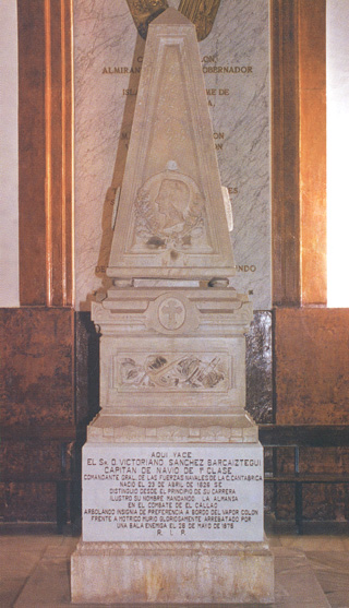 Mausoleo de don Victoriano Sánchez Barcáiztegui Acquaroni.Cortesía del Museo Naval. Madrid.
