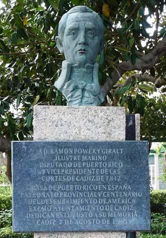 Ramón Vicente Power y Giralt. Capitán de fragata de la Real Armada Española. Diputado en las Cortes de Cádiz de 1812 en representación de la provincia de Puerto Rico, su tierra natal.